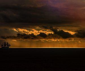 Ship on Dark Sea